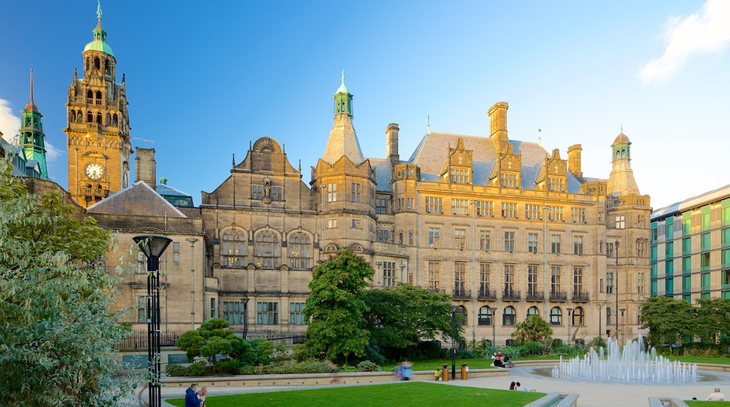 Sheffield Town Hall featuring a fountain, heritage architecture and an administrative building
