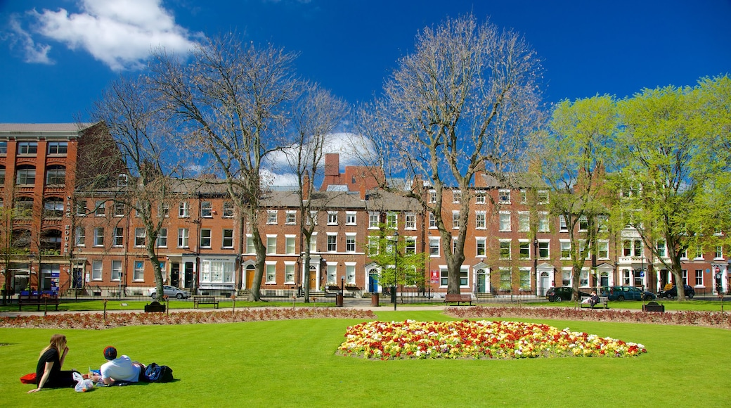 Leeds Park Square which includes a park, flowers and picnicking