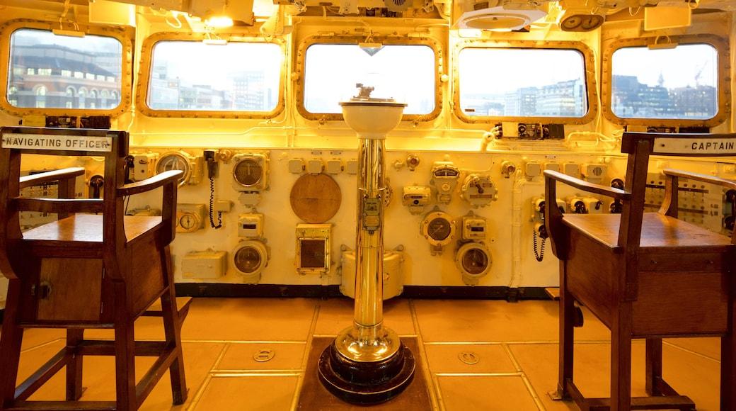 HMS Belfast fasiliteter samt innendørs