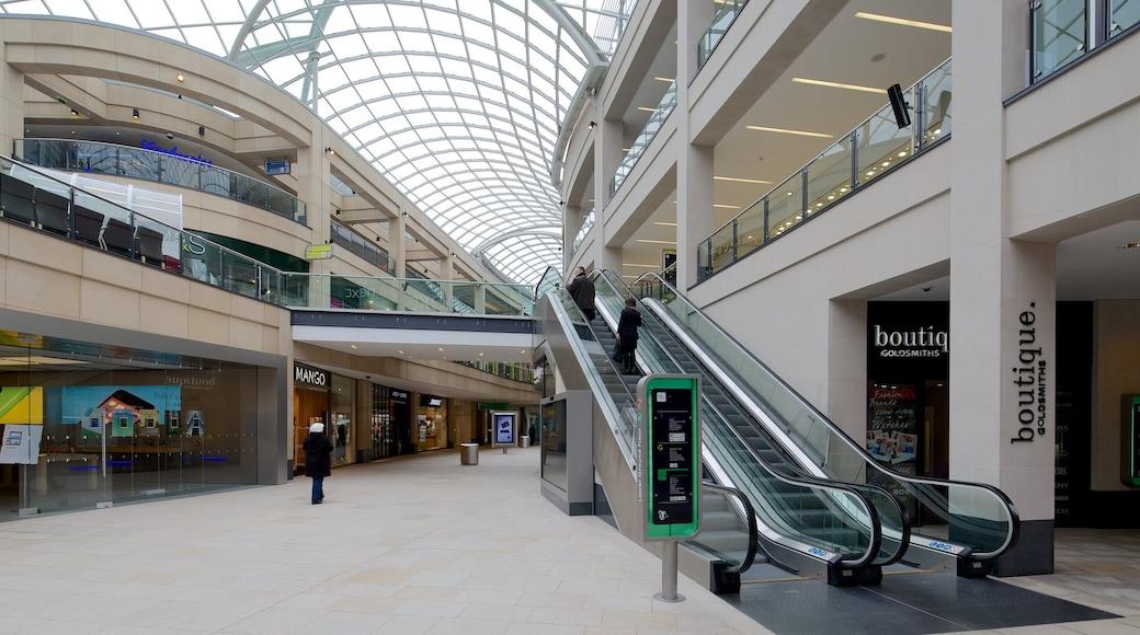 Centro comercial Trinity Leeds ofreciendo vistas interiores, compras y señalización