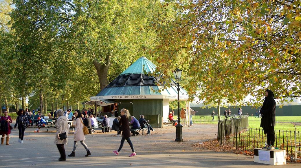 Rincón del orador de Hyde Park mostrando actuación callejera y un parque y también un pequeño grupo de personas