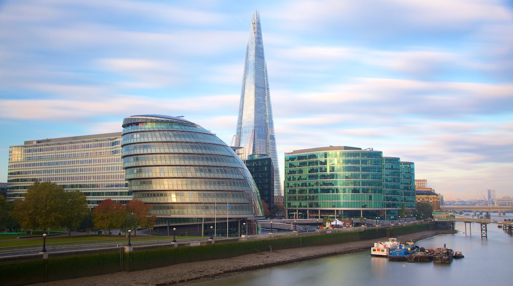 The Shard showing a city, modern architecture and a river or creek
