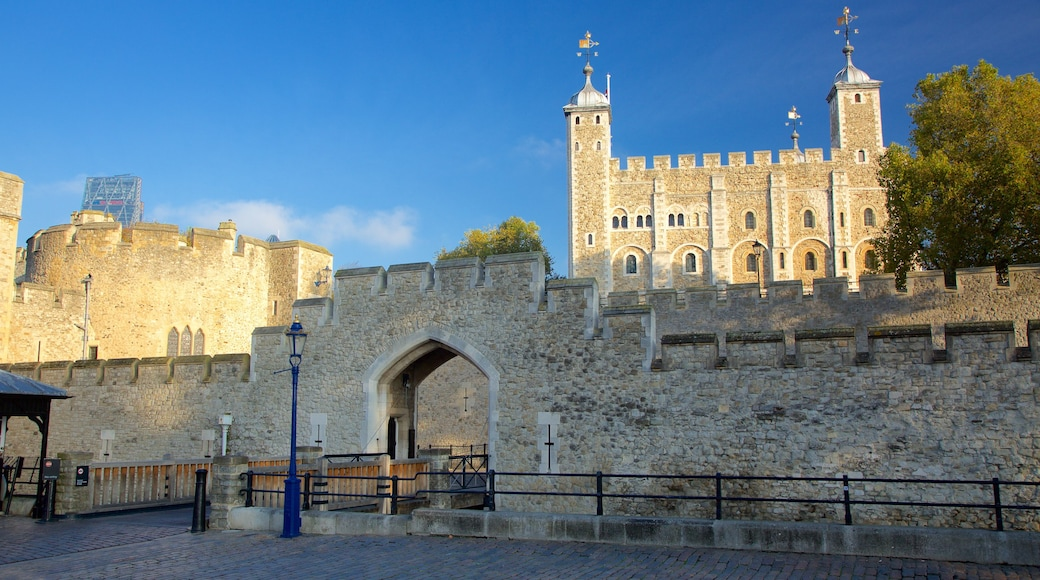 Tower of London which includes heritage elements and a castle