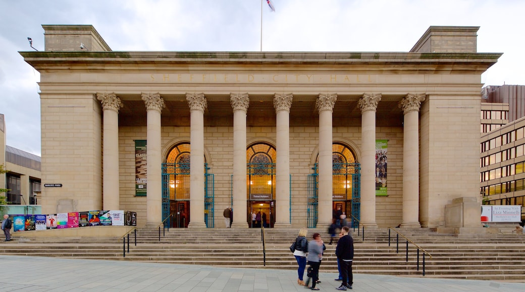 Sheffield City Hall which includes heritage architecture and theatre scenes as well as a small group of people