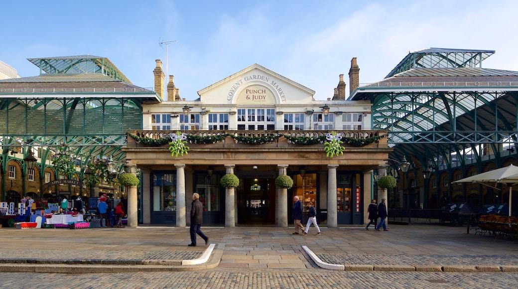 London som visar historiska element, skyltar och marknader