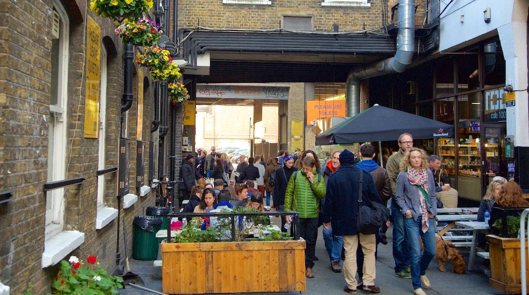 London som inkluderar marknader, gatuliv och caféer