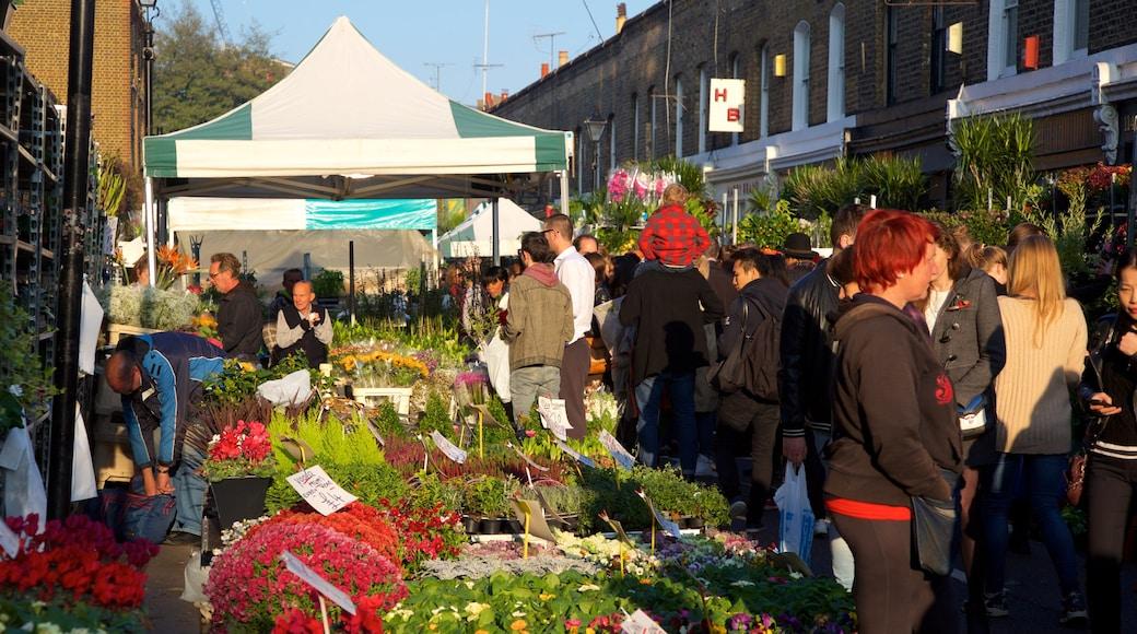 London som inkluderar shopping, blommor och marknader