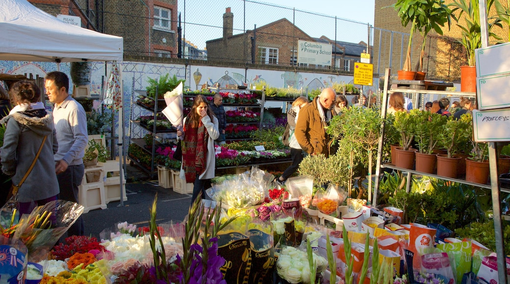 London som inkluderar marknader, blommor och shopping