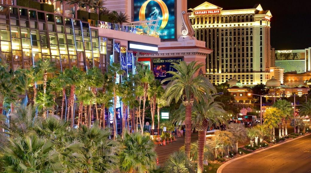 Las Vegas mostrando paesaggio notturno, strade e casinò