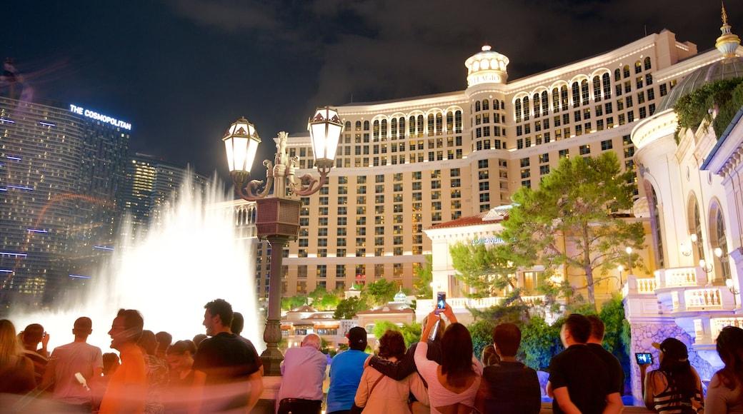 Bellagio Casino showing night scenes, a casino and a fountain