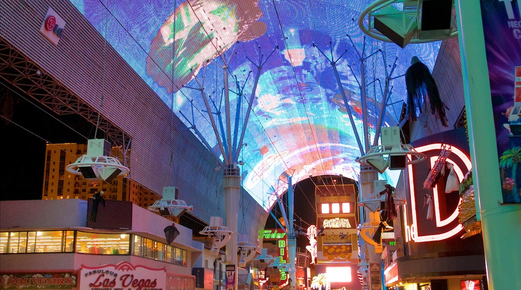 Fremont Street Experience showing night scenes, outdoor art and signage