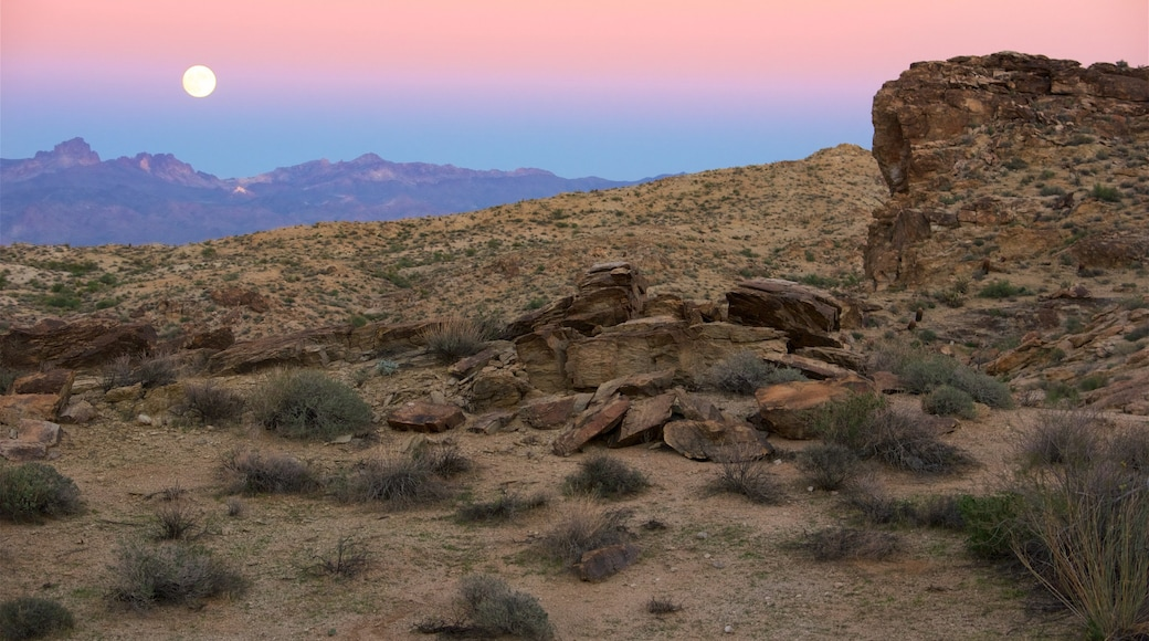 Nevada caracterizando paisagens do deserto e um pôr do sol
