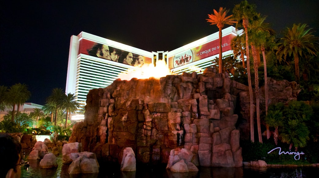 Mirage Volcano featuring tropical scenes, a casino and a hotel