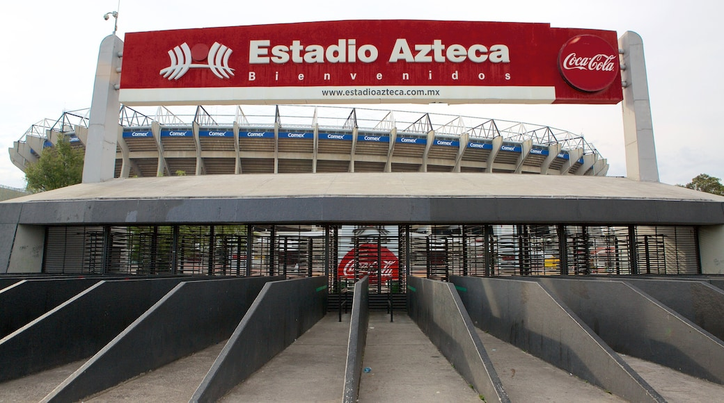 Estadio Azteca showing signage and a sporting event