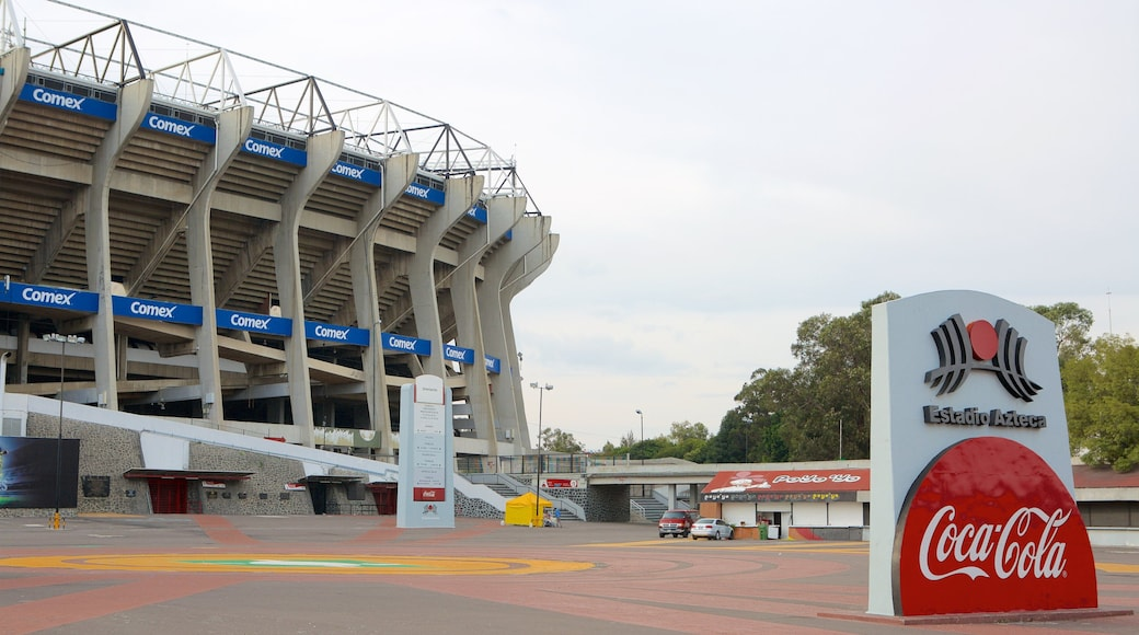 Estadio Azteca featuring a sporting event and signage