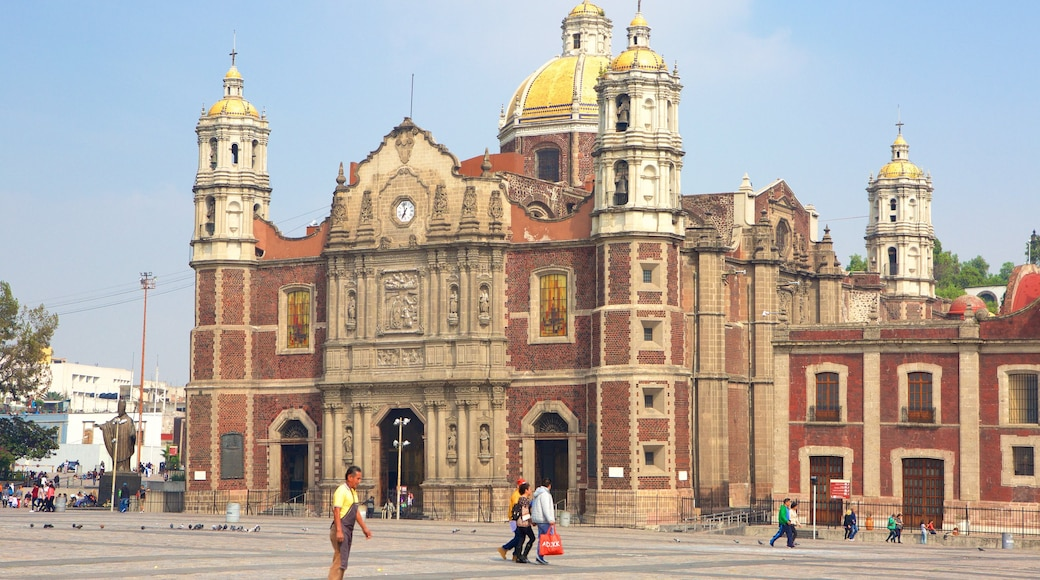 Basilica of Our Lady of Guadalupe showing a church or cathedral, heritage architecture and a square or plaza