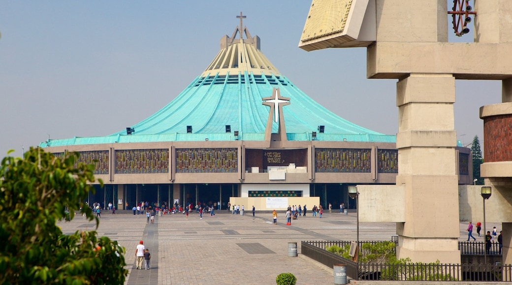 Basilica of Our Lady of Guadalupe showing a church or cathedral, a statue or sculpture and a square or plaza