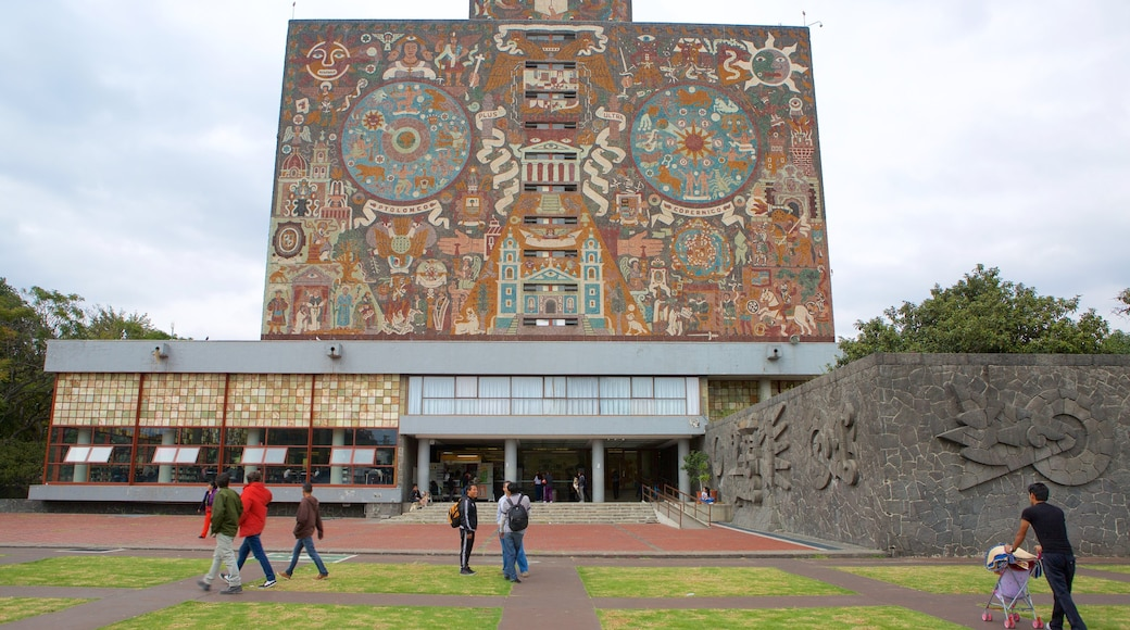 National Autonomous University of Mexico which includes outdoor art and a garden as well as a small group of people