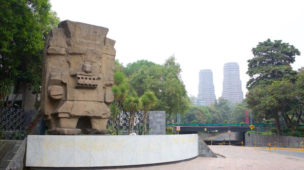 Museo Nacional de Antropologia featuring a statue or sculpture and a square or plaza