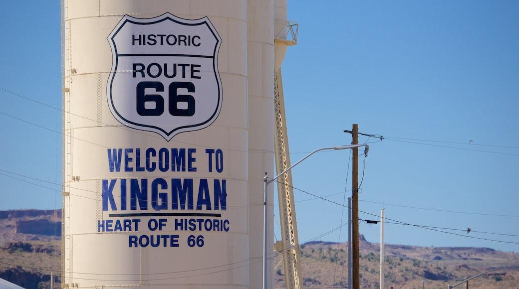 Kingman montrant vues du désert, signalisation et scènes tranquilles