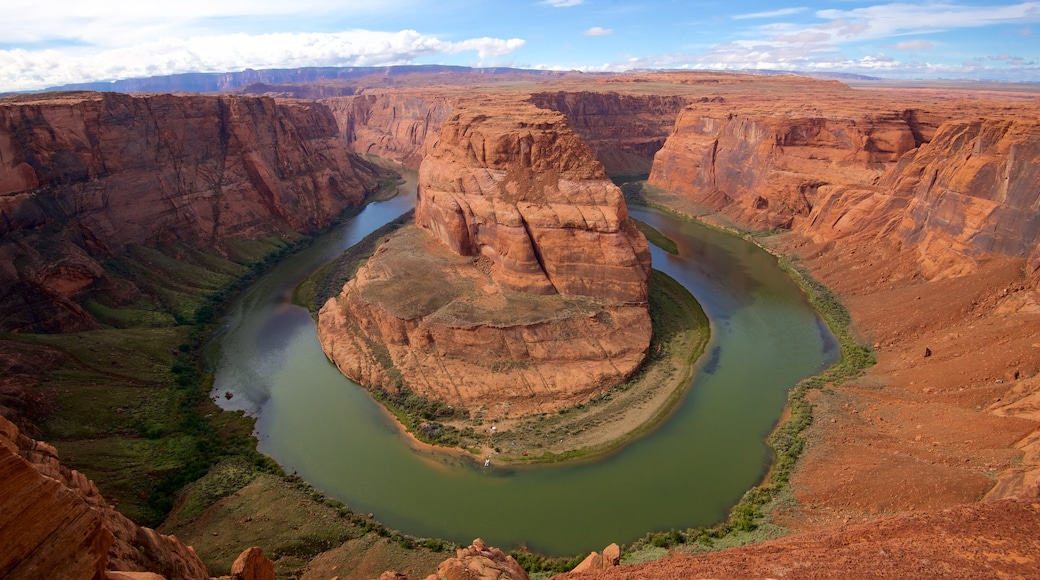 Horseshoe Bend which includes a river or creek, desert views and tranquil scenes
