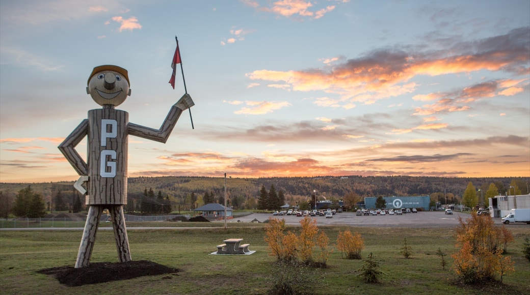 Prince George featuring outdoor art and a sunset