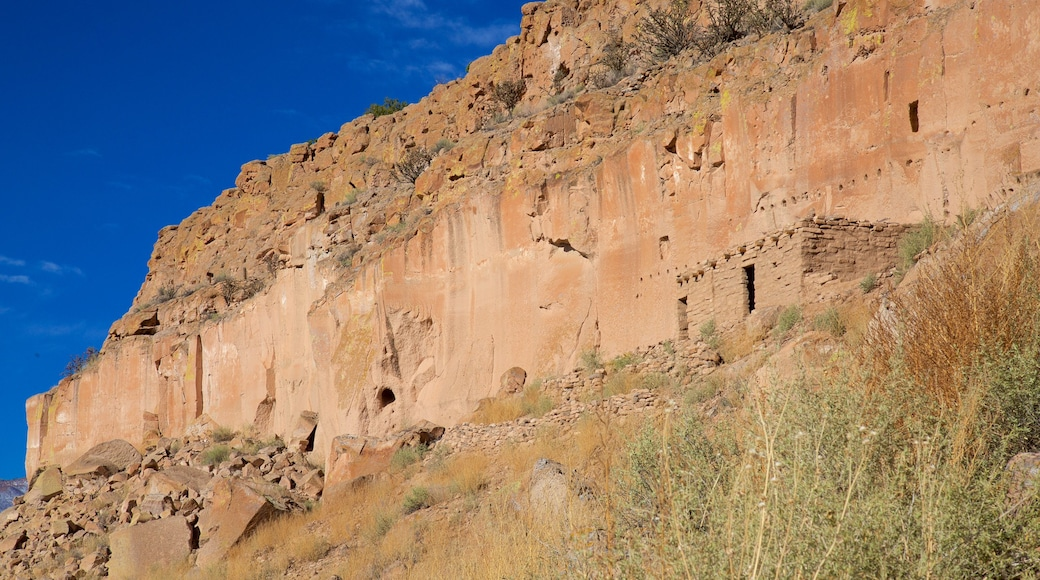 Puye Cliff Dwellings featuring a ruin and tranquil scenes