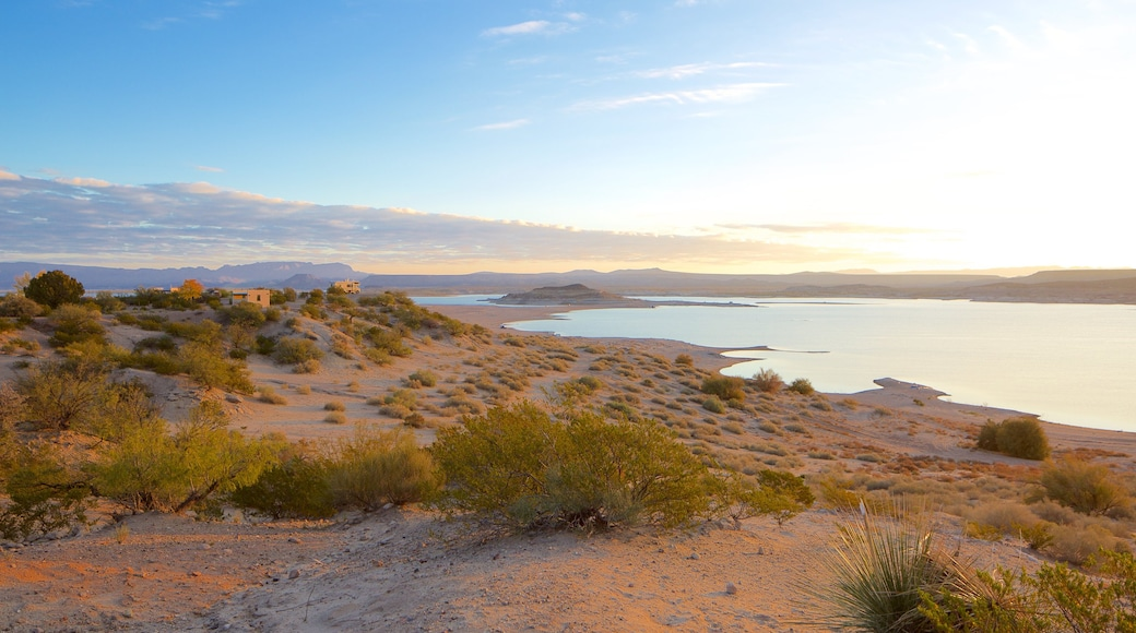 Elephant Butte which includes a beach, landscape views and a lake or waterhole