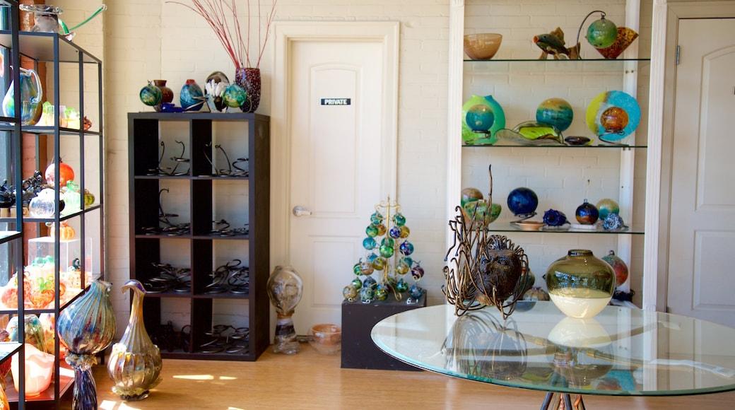 Jennifer Sears Glass Art Studio showing interior views, art and shopping
