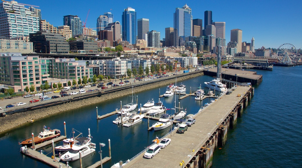 Seattle Waterfront featuring boating, sailing and city views