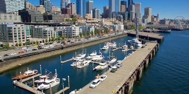 Seattle Waterfront which includes cbd, boating and a marina