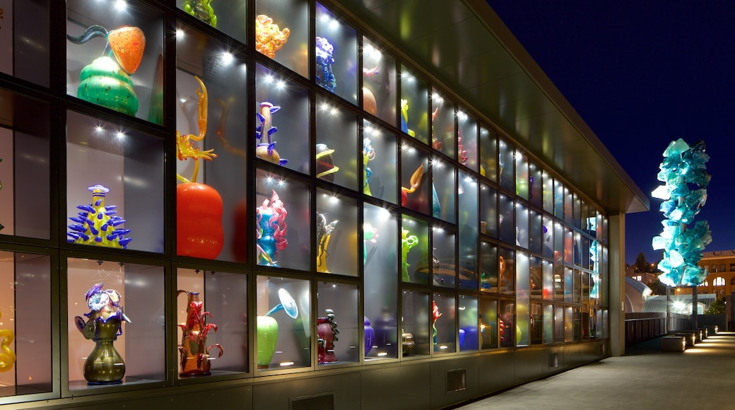 Museum of Glass featuring night scenes and art