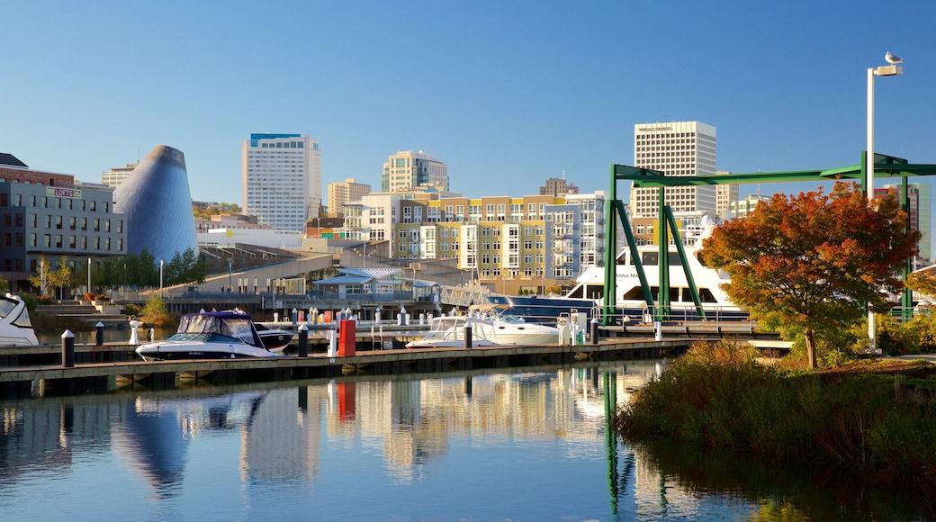 Tacoma showing a city, a bay or harbor and a marina