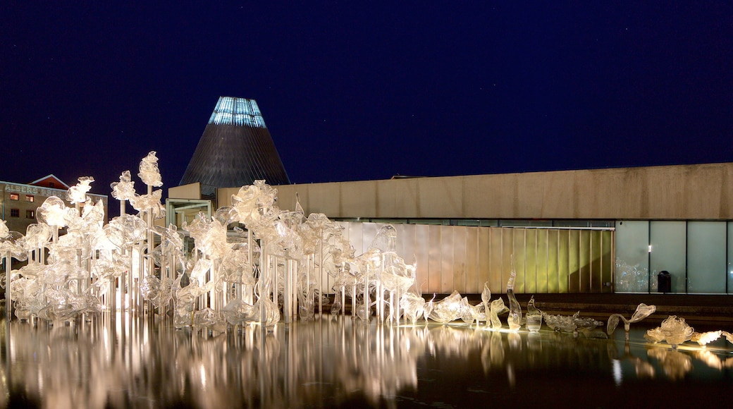 Museum of Glass showing art, modern architecture and night scenes