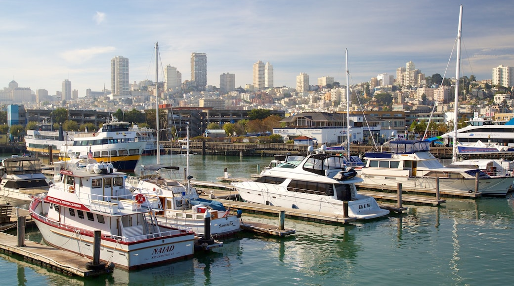 Fisherman\'s Wharf showing a city and a marina