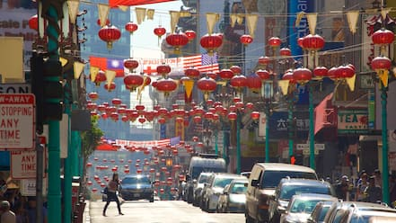 Chinatown which includes street scenes