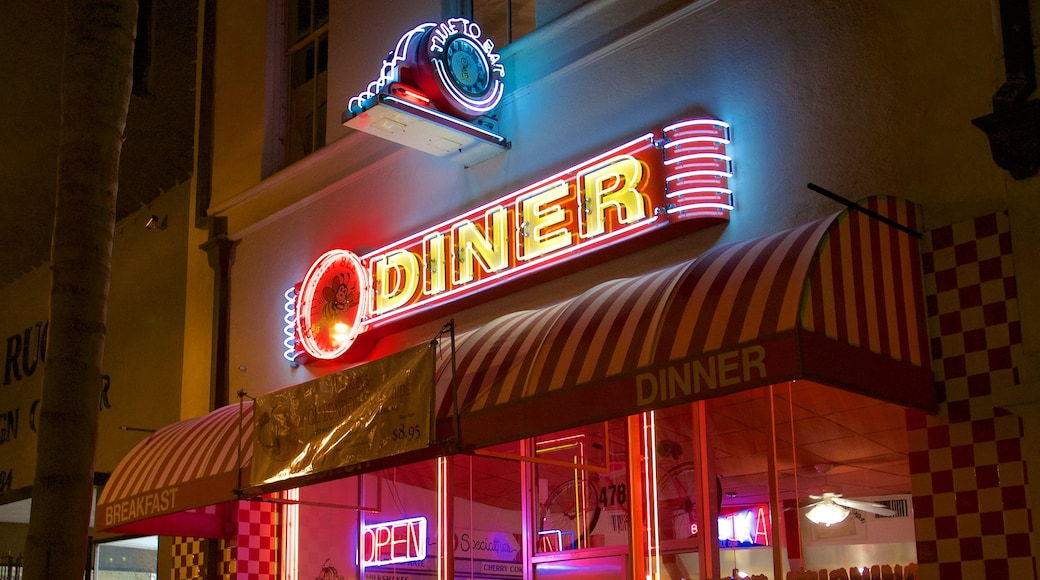 Ventura showing night scenes, signage and outdoor eating