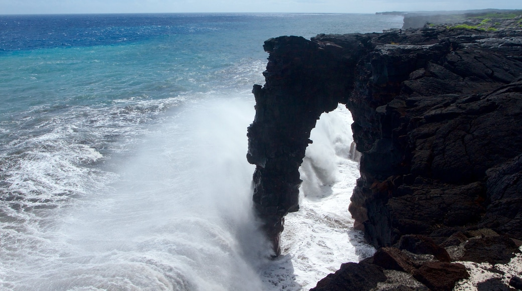 Hawaii Volcanoes National Park which includes rocky coastline