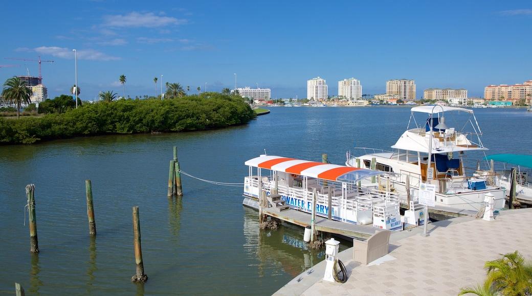 Clearwater Marine Aquarium showing a marina and general coastal views