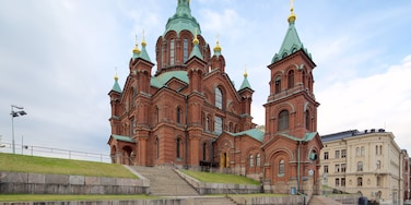 Katajanokka which includes heritage architecture and a church or cathedral