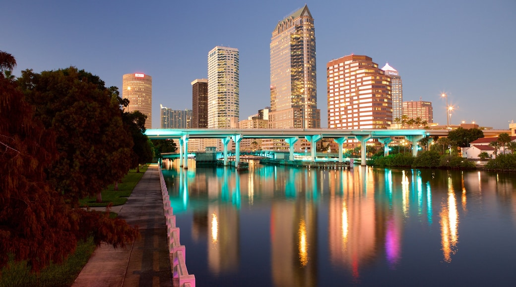 Tampa which includes a bridge, a city and night scenes