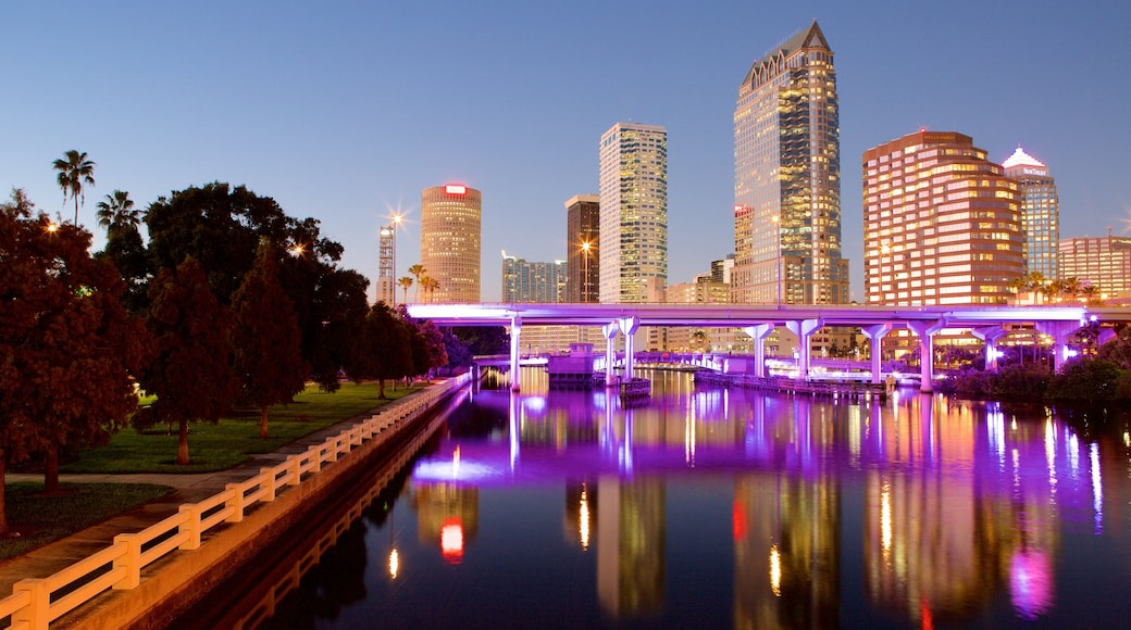 Tampa Bay showing a river or creek, night scenes and skyline
