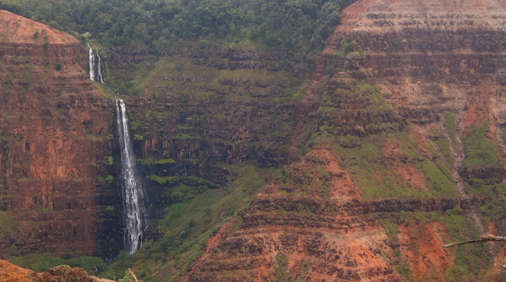 Waimea Canyon featuring a waterfall and a gorge or canyon
