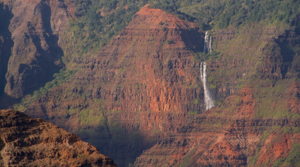 Waimea Canyon which includes a gorge or canyon and a waterfall
