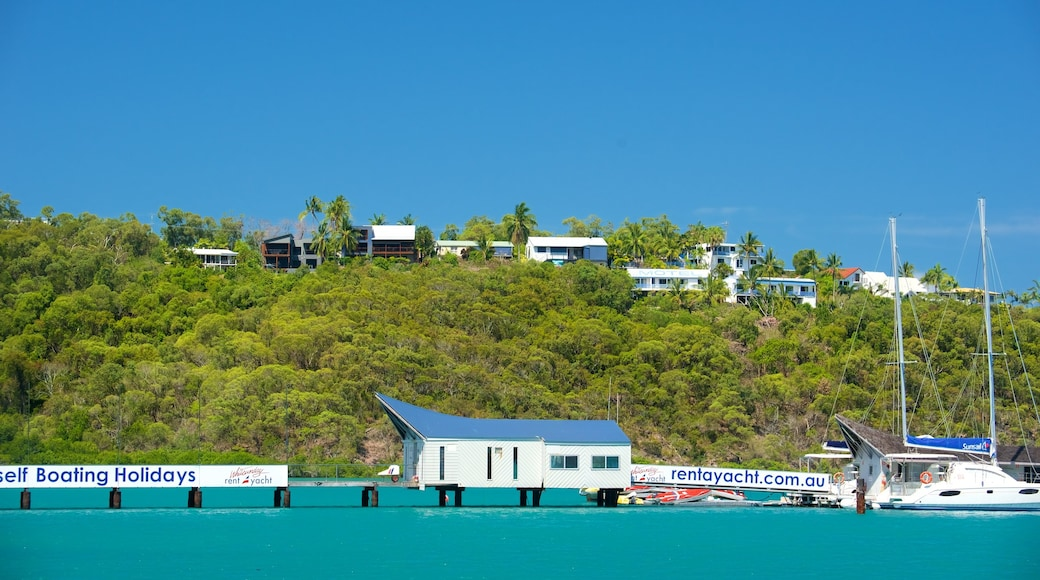 Shute Harbour showing signage, general coastal views and tropical scenes
