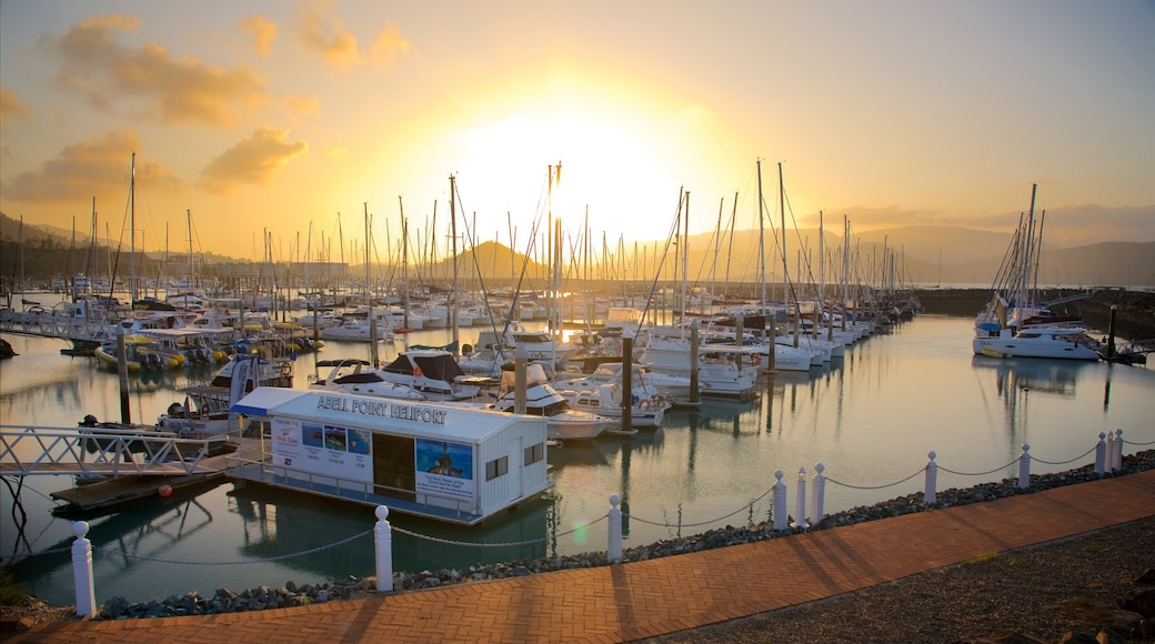 Abell Point Marina featuring sailing, a bay or harbour and a sunset