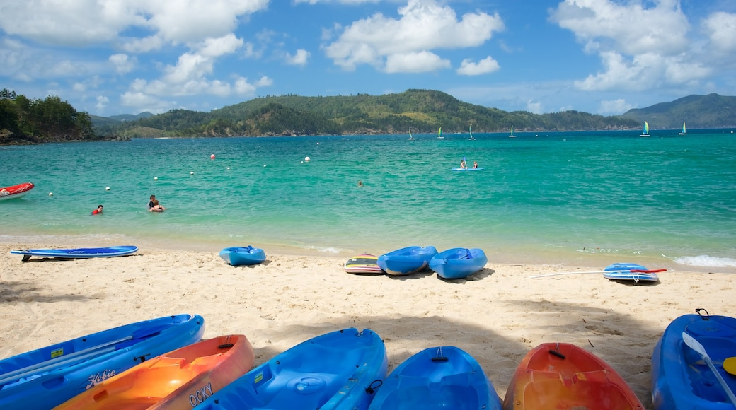 Catseye Beach which includes a sandy beach, kayaking or canoeing and landscape views