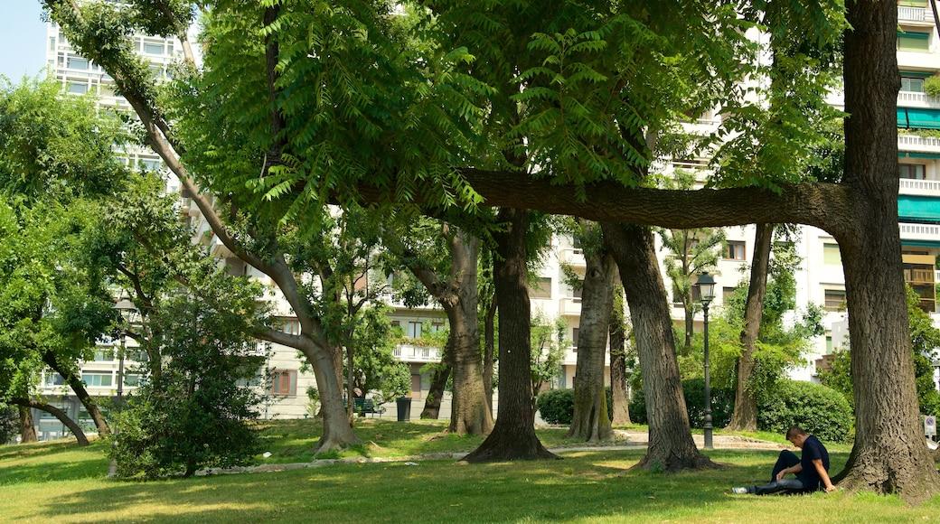 Piazza della Repubblica presenterar en park såväl som en man