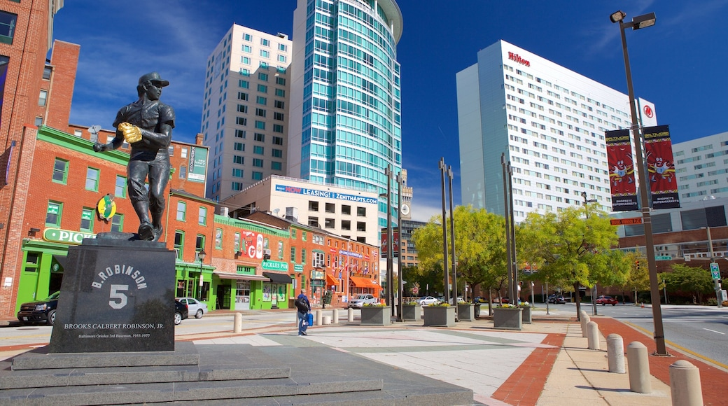 Baltimore showing a square or plaza, a city and a statue or sculpture