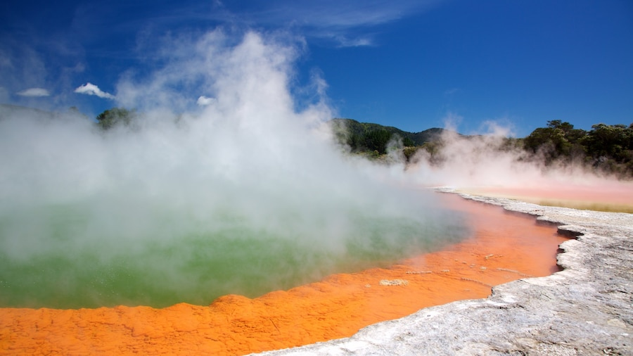 Rotorua featuring a hot spring